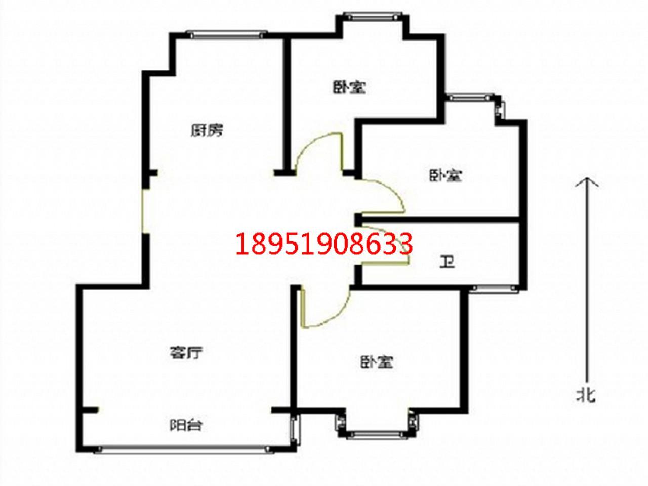 江宁区将军大道托乐嘉友邻居3室1厅户型图