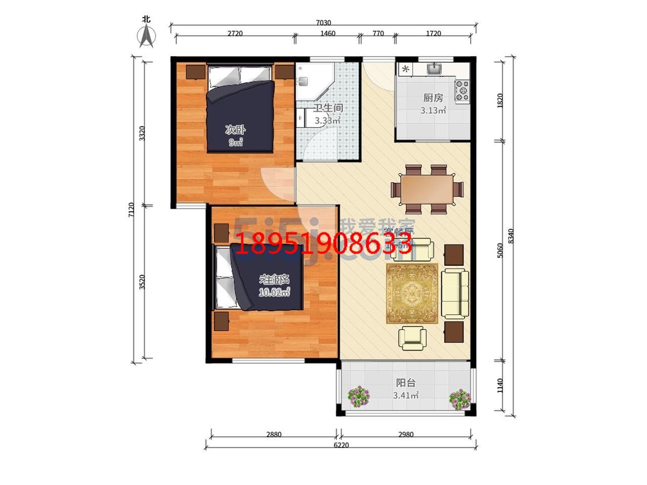 江宁区将军大道托乐嘉贵邻居2室2厅户型图