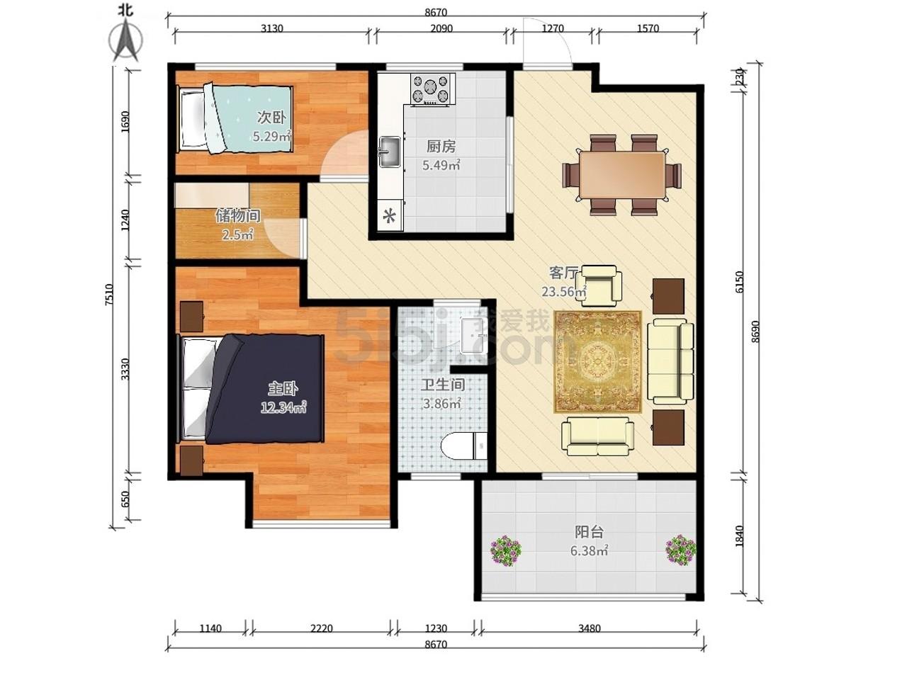 江宁区麒麟中海国际社区二期2室2厅户型图