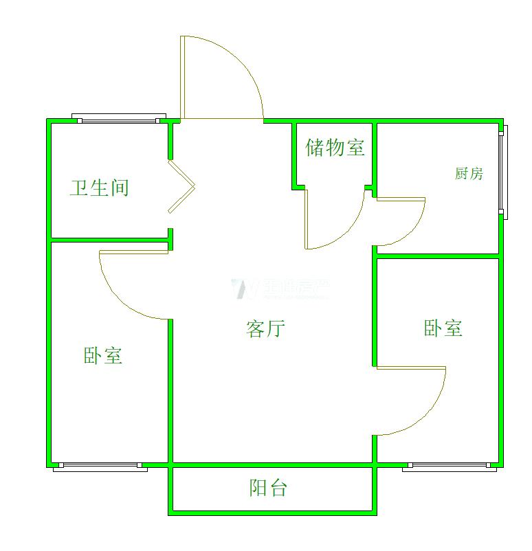 栖霞区仙林湖万科金色领域3室1厅户型图