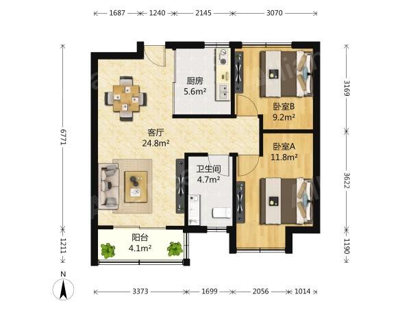 江宁区麒麟中海国际社区一期2室2厅户型图