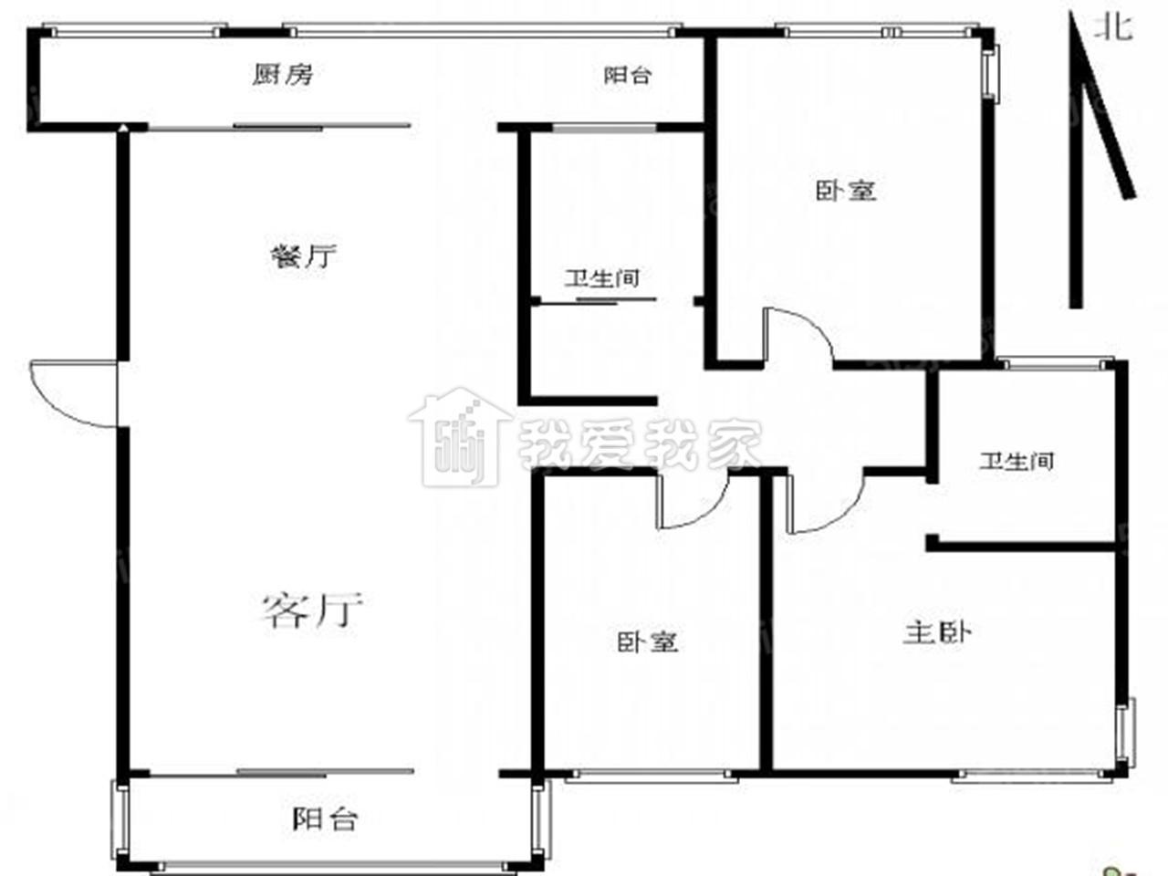 江宁区东山街道亲水湾花园3室2厅户型图