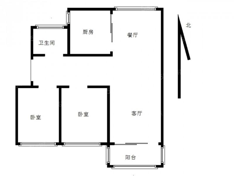 栖霞区迈皋桥中铁青秀城2室1厅户型图