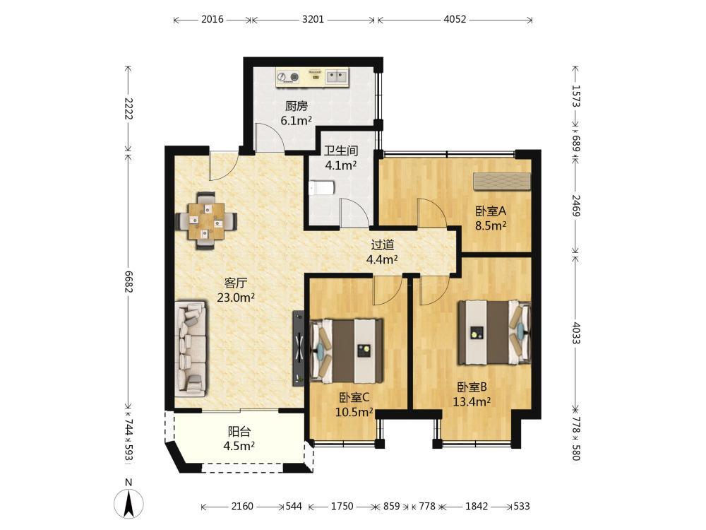 栖霞区仙林湖金地湖城艺境3室2厅户型图