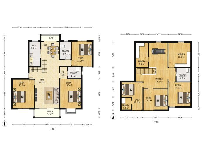 玄武区樱驼花园帝豪花园别墅5室3厅户型图