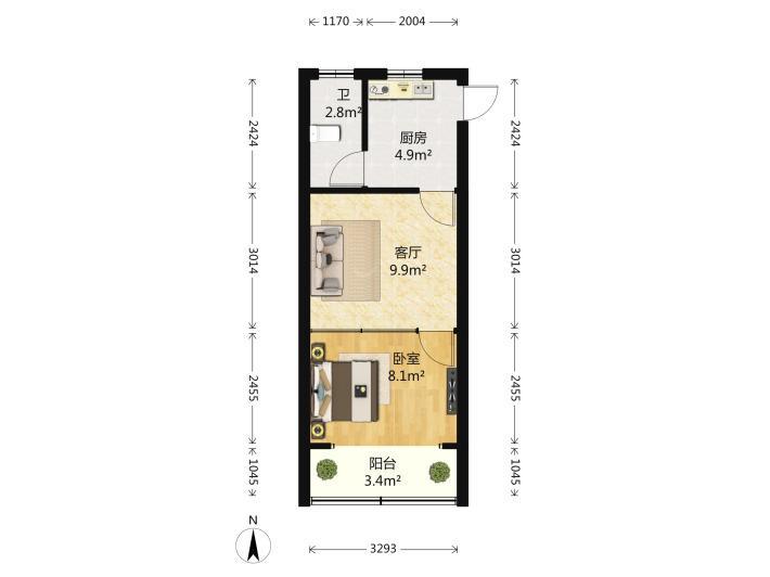 秦淮区五老村CFC长发中心1室1厅户型图