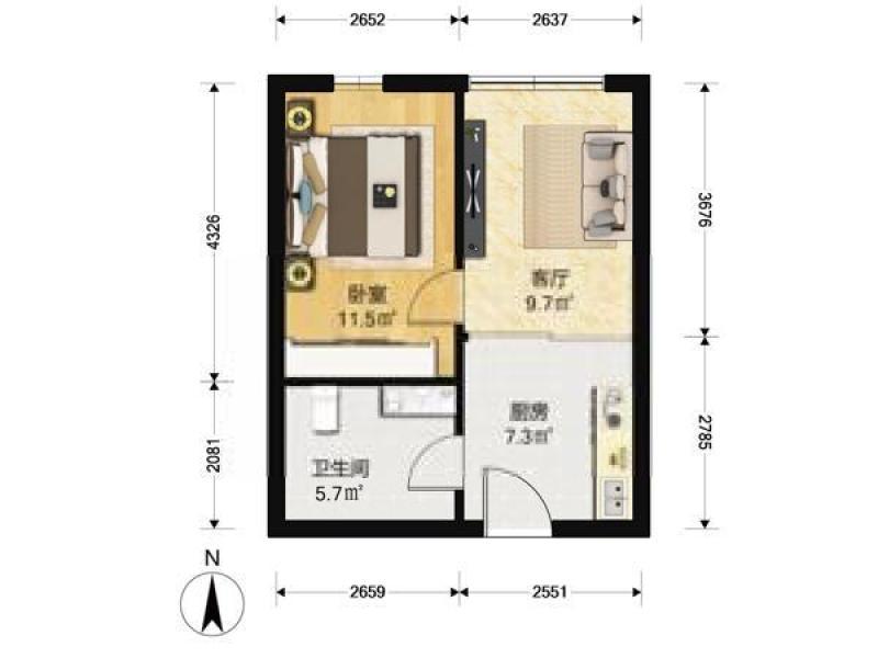 江宁区百家湖同曦新贵之都1室1厅户型图