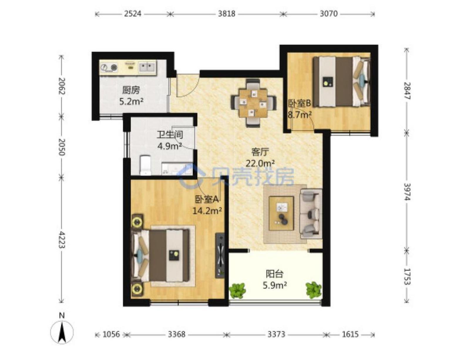 江宁区东山街道世纪东山花园2室1厅户型图