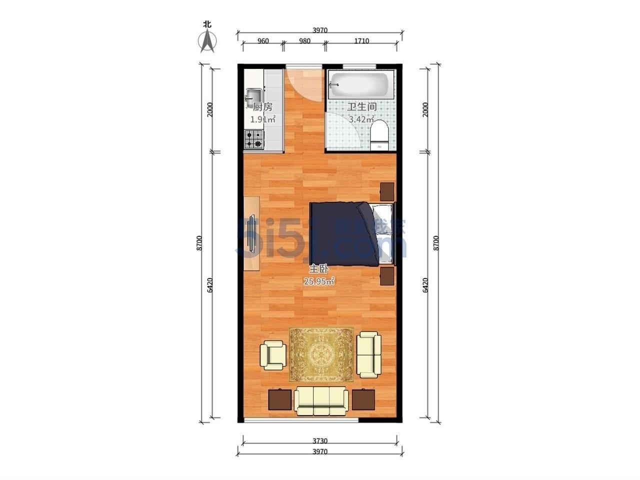 栖霞区仙林赛世香樟园1室1厅户型图