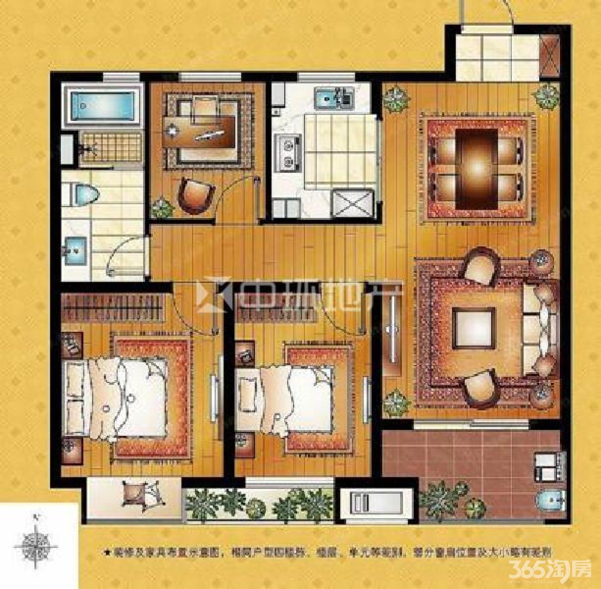 栖霞区仙林湖万科金色领域3室2厅户型图