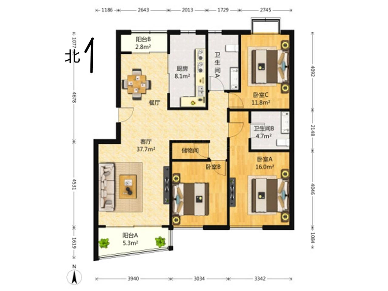 江宁区将军大道翠屏清华园3室2厅户型图