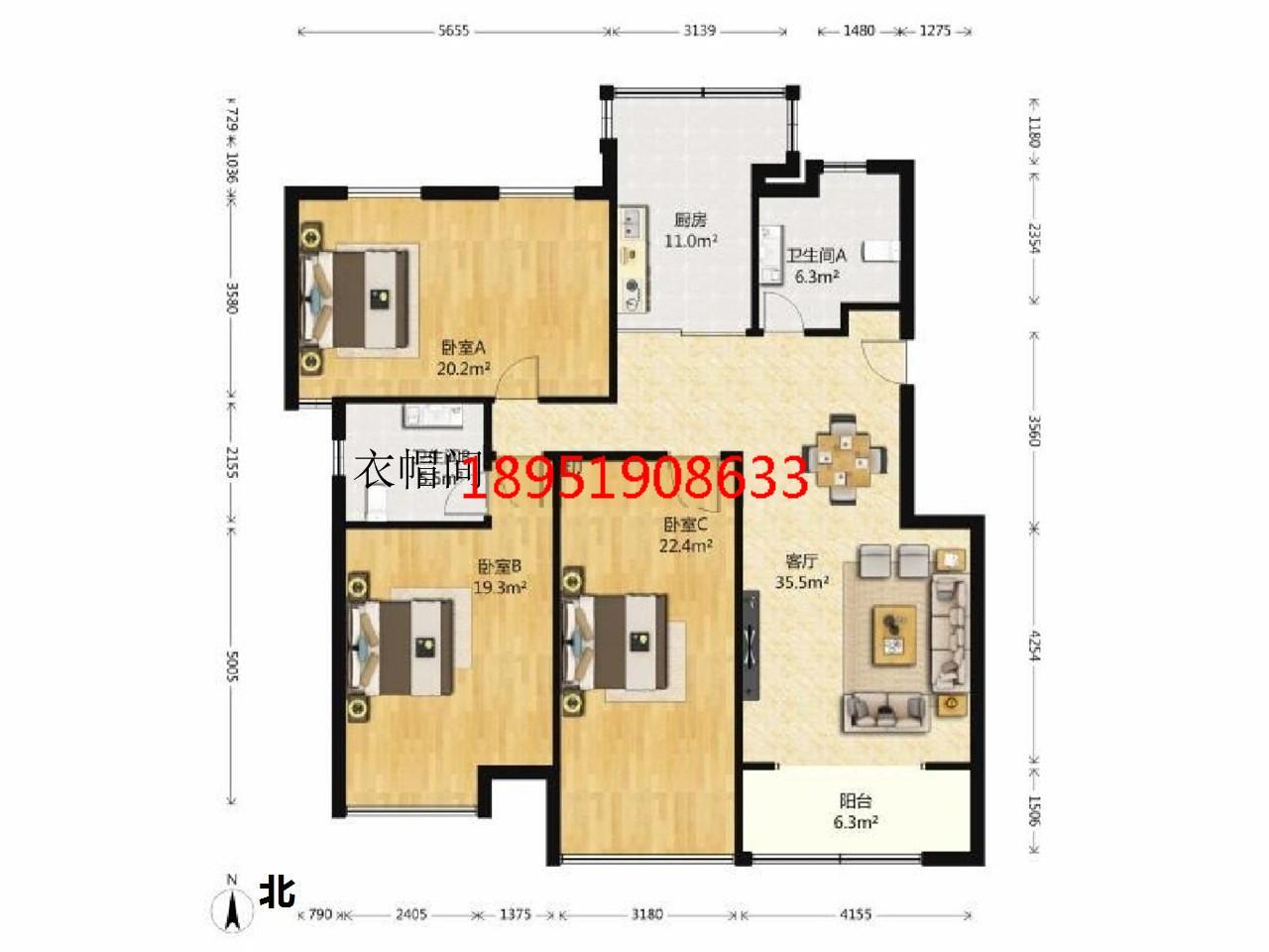 江宁区将军大道爱涛翠湖花园3室2厅户型图