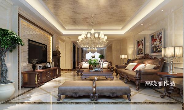 别墅装修公司保利紫晶山美式风格装修样板间客厅效果图欣赏