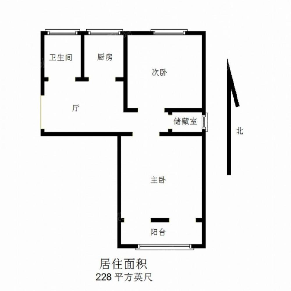 玄武区玄武门天山路小区2室1厅户型图