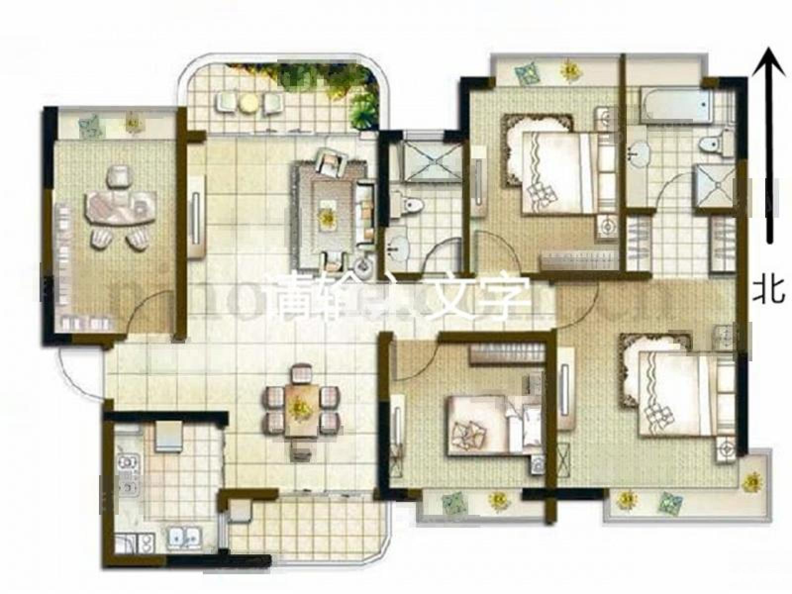 户型介绍 此房为南向四室二厅二卫,140平米,精装,精装,户型方正,带