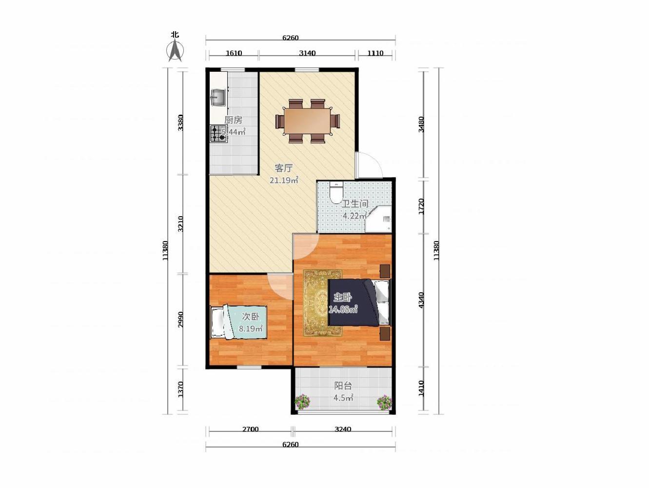 玄武区卫岗卫岗26号2室1厅户型图