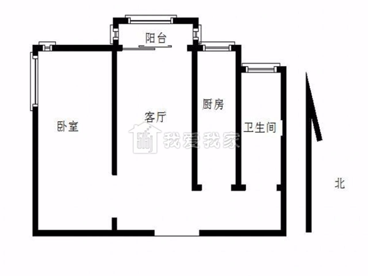 江宁区东山街道金王府小区1室1厅户型图