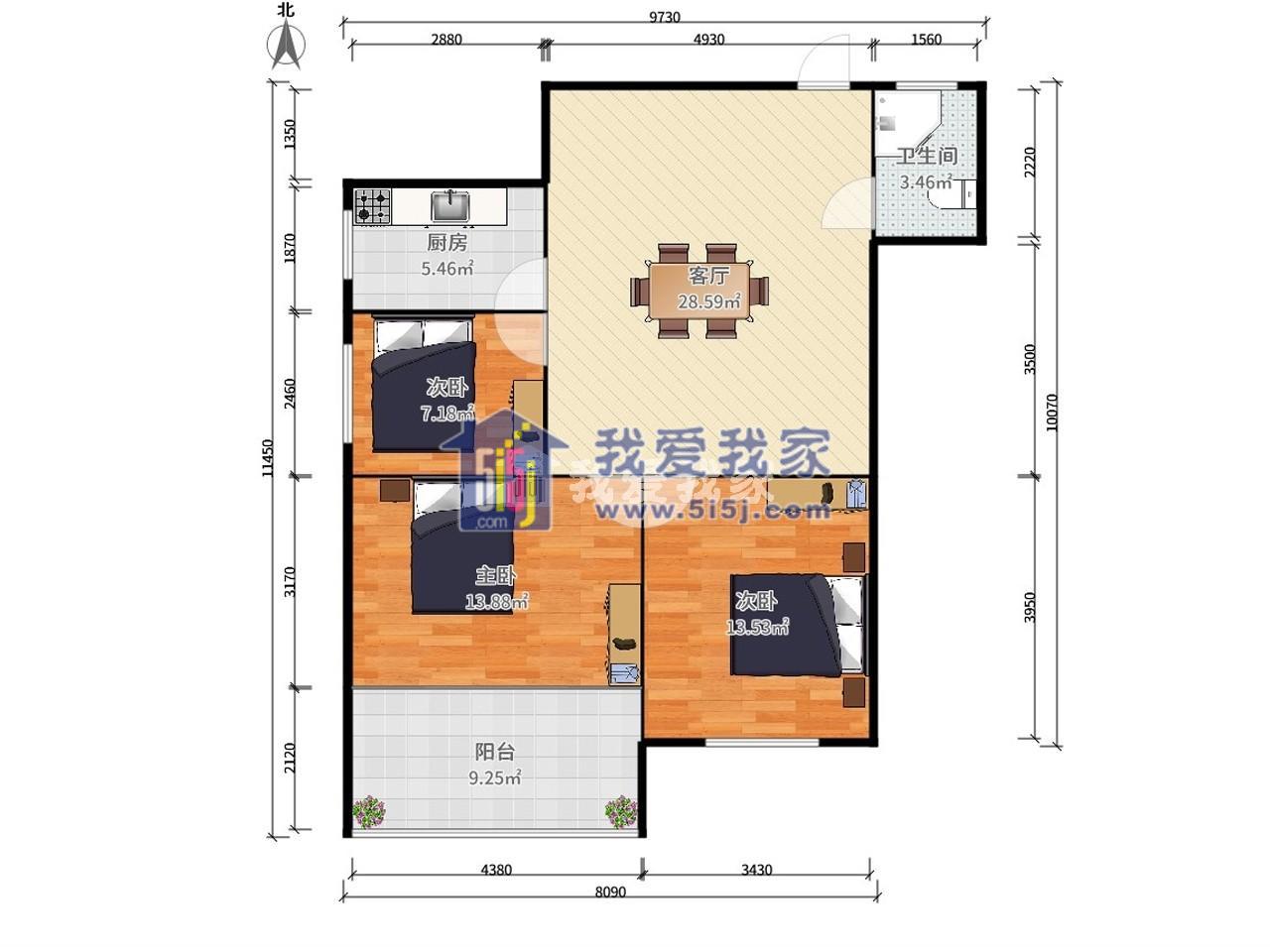 玄武区北京东路太平花园3室1厅户型图