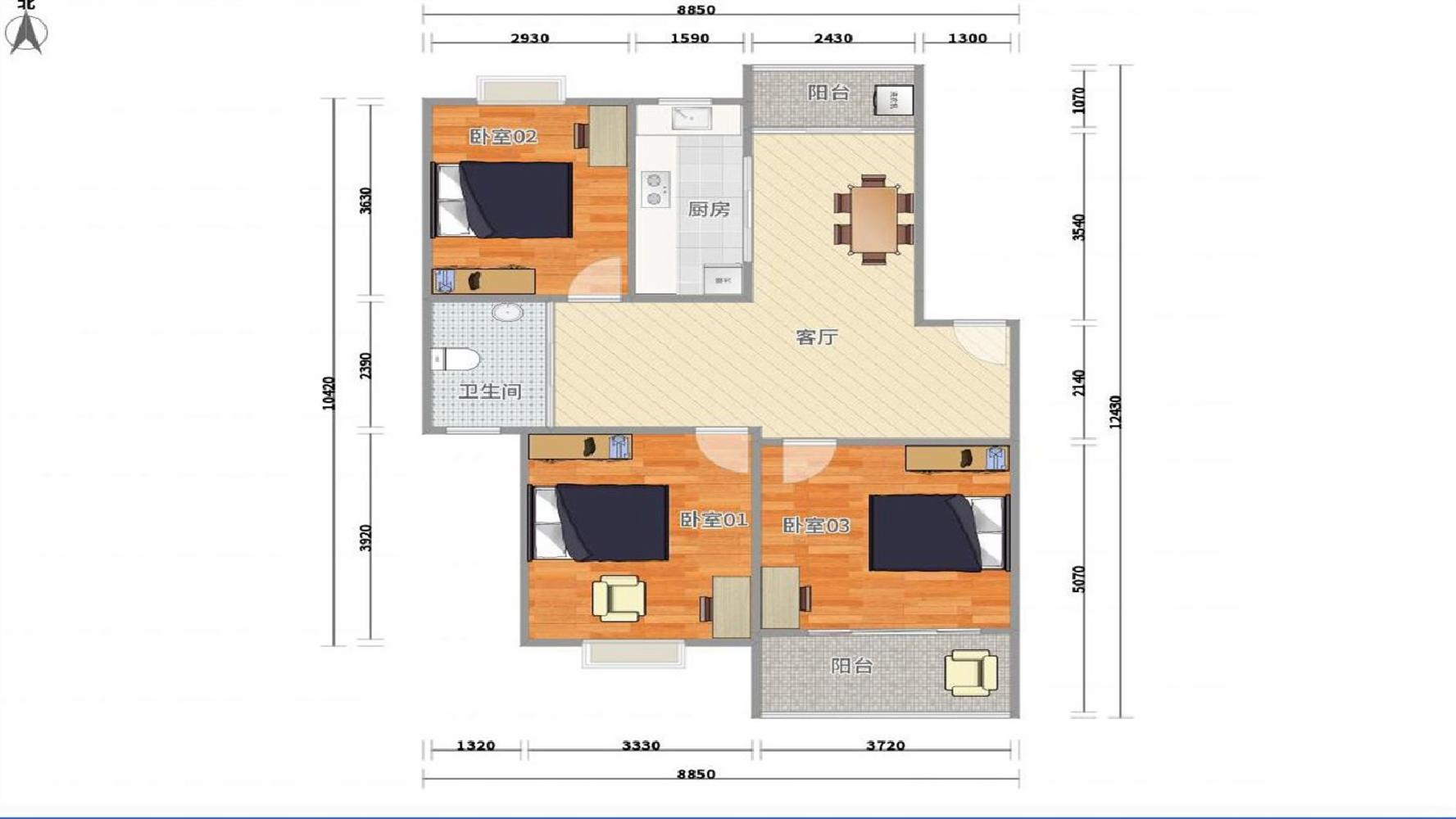 雨花台区西善桥大众花园3室1厅户型图