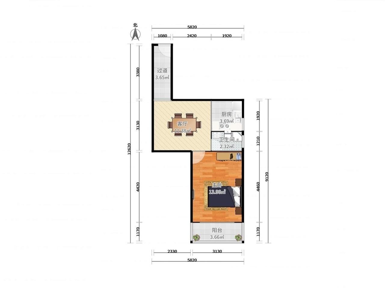 鼓楼区华侨路华侨公寓1室1厅户型图