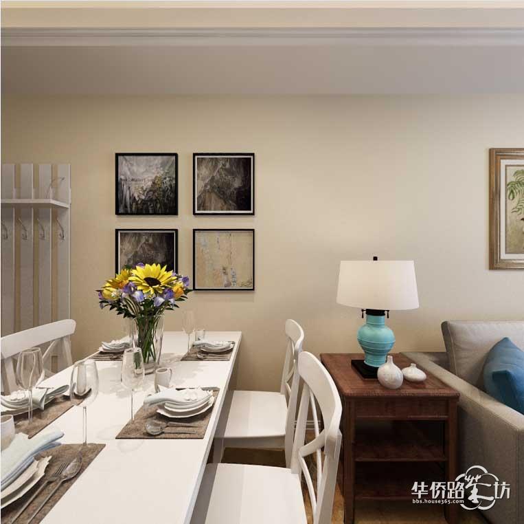 金地湖城艺境96平三室二厅美式乡村风格装修效果图