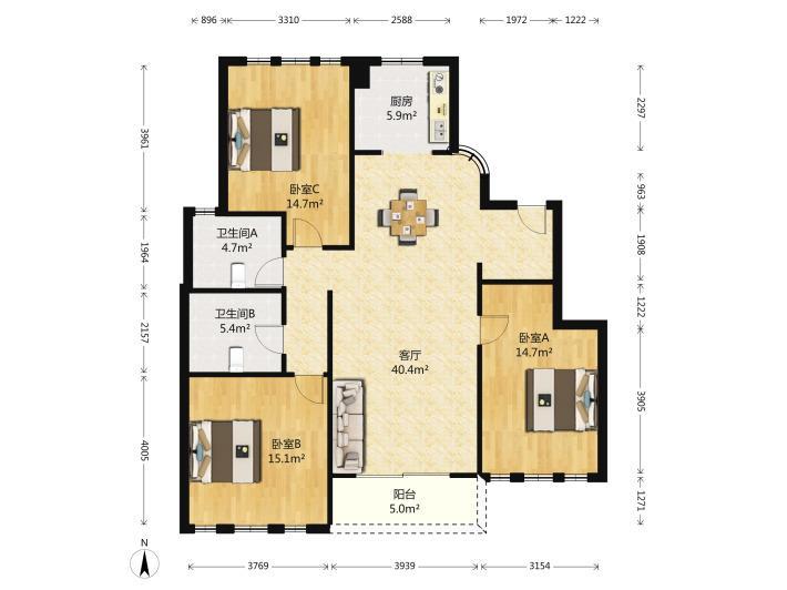 玄武区樱驼花园紫金东郡3室1厅户型图