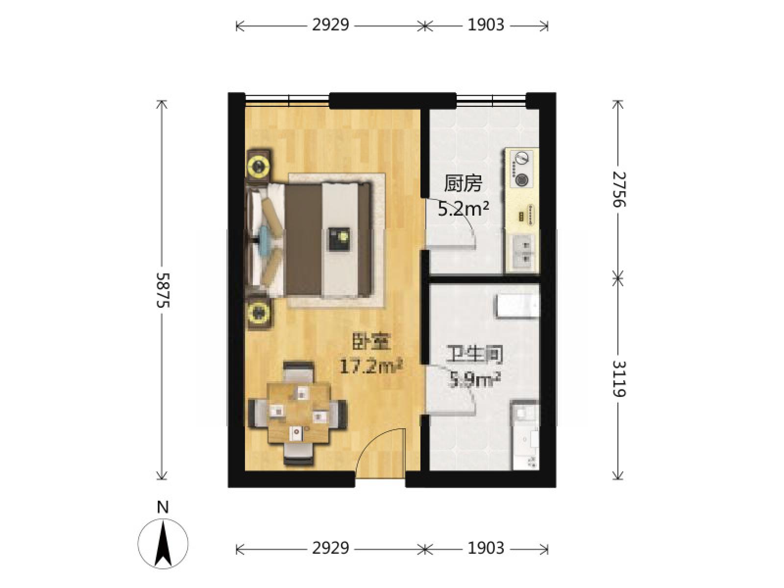 秦淮区升州路天安恒隆花园1室1厅户型图