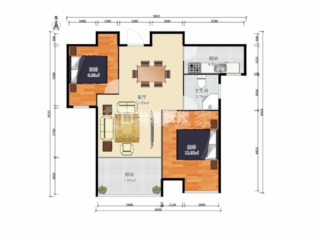 鼓楼区宁海路上海路81号2室2厅户型图
