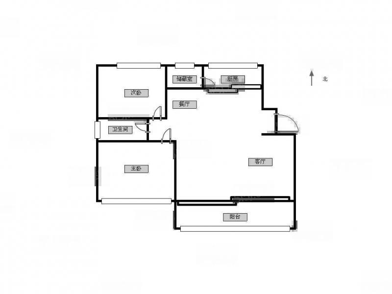 江宁区东山街道山水方舟2室2厅户型图
