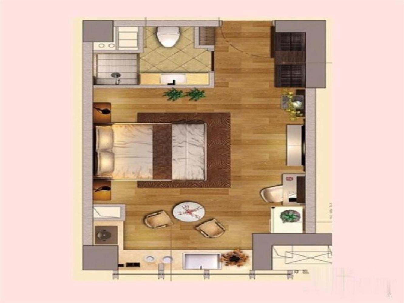 建邺区奥南升龙汇金中心1室1厅户型图