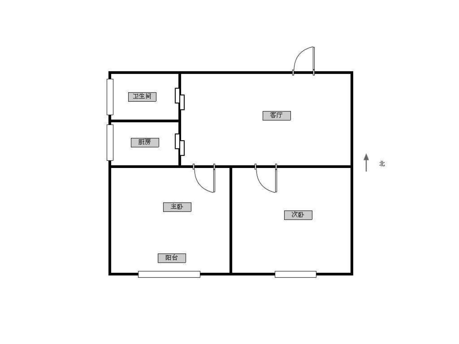江宁区岔路口南方花园B组团2室1厅户型图