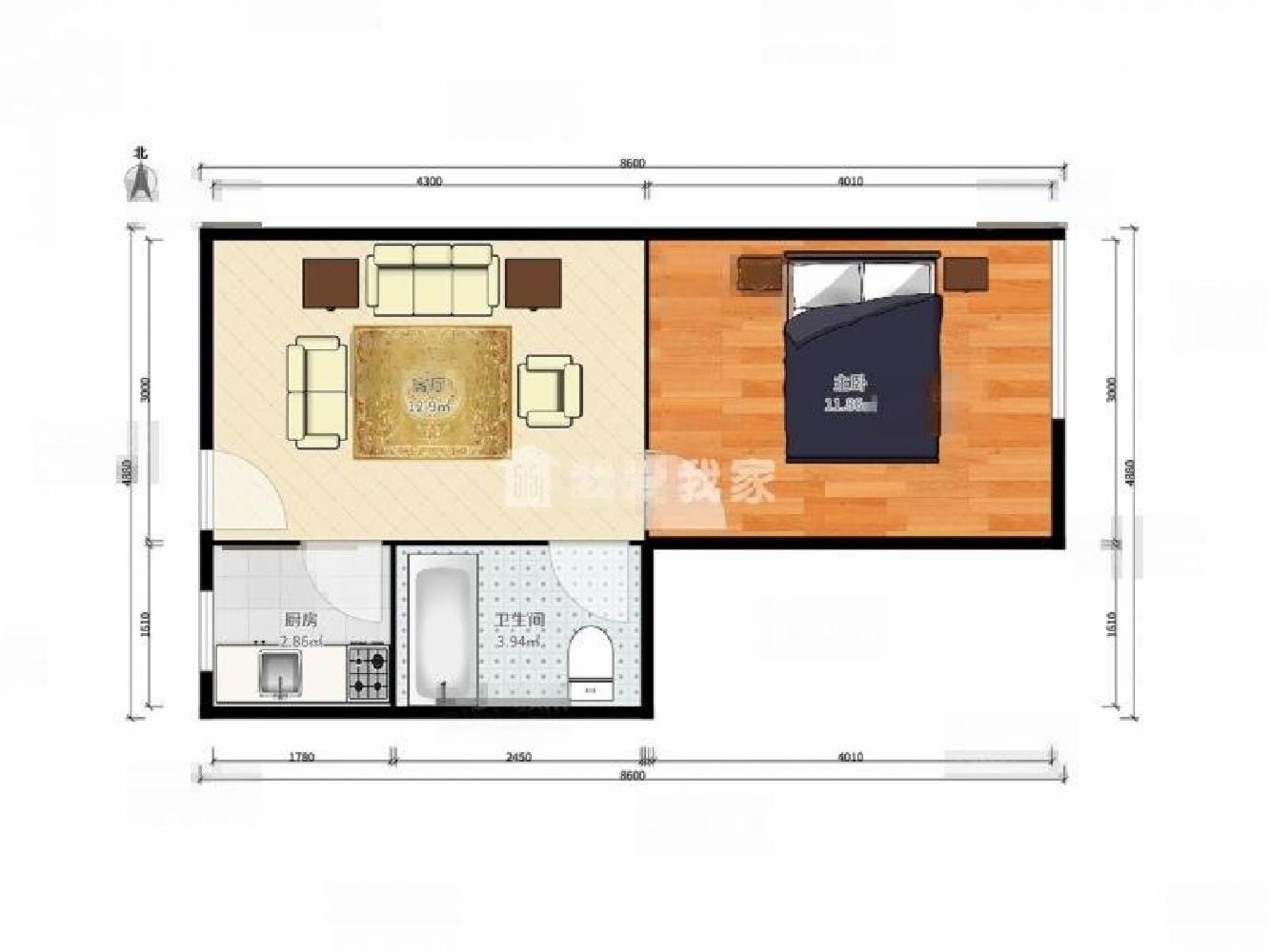 栖霞区仙林三味公寓1室1厅户型图