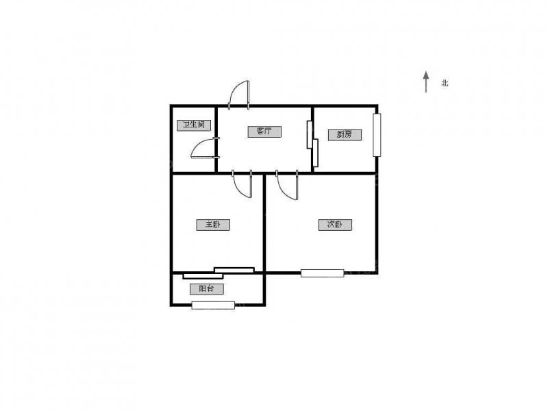 建邺区南湖沿河一村2室1厅户型图