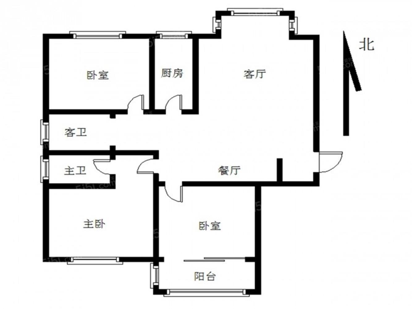 江宁区东山街道华意泰富花苑3室2厅户型图
