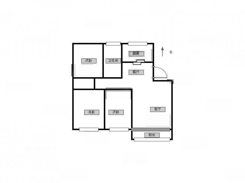 江宁区岔路口天地新城天一座3室2厅户型图