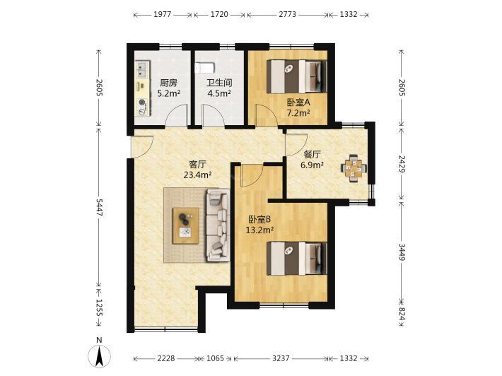 玄武区后宰门黄埔花园3室1厅户型图