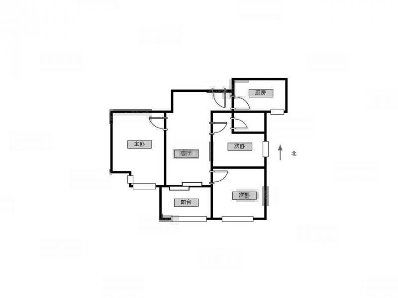 江宁区秣陵街道银城蓝溪郡3室2厅户型图