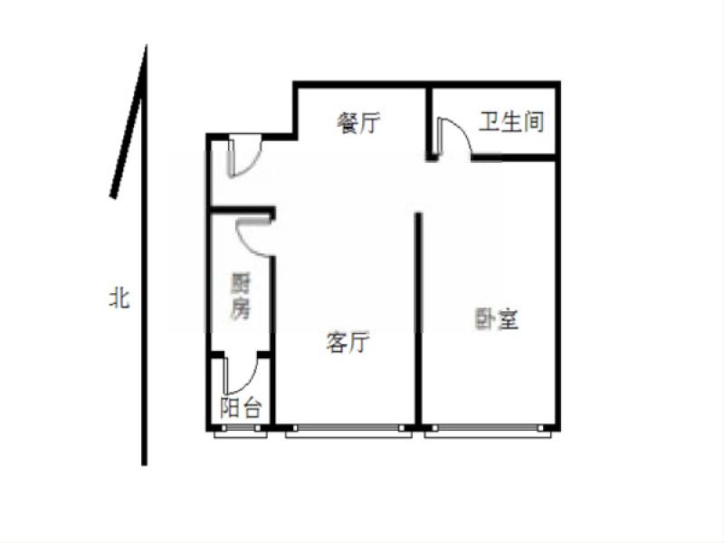鼓楼区江东涵碧楼1室2厅户型图