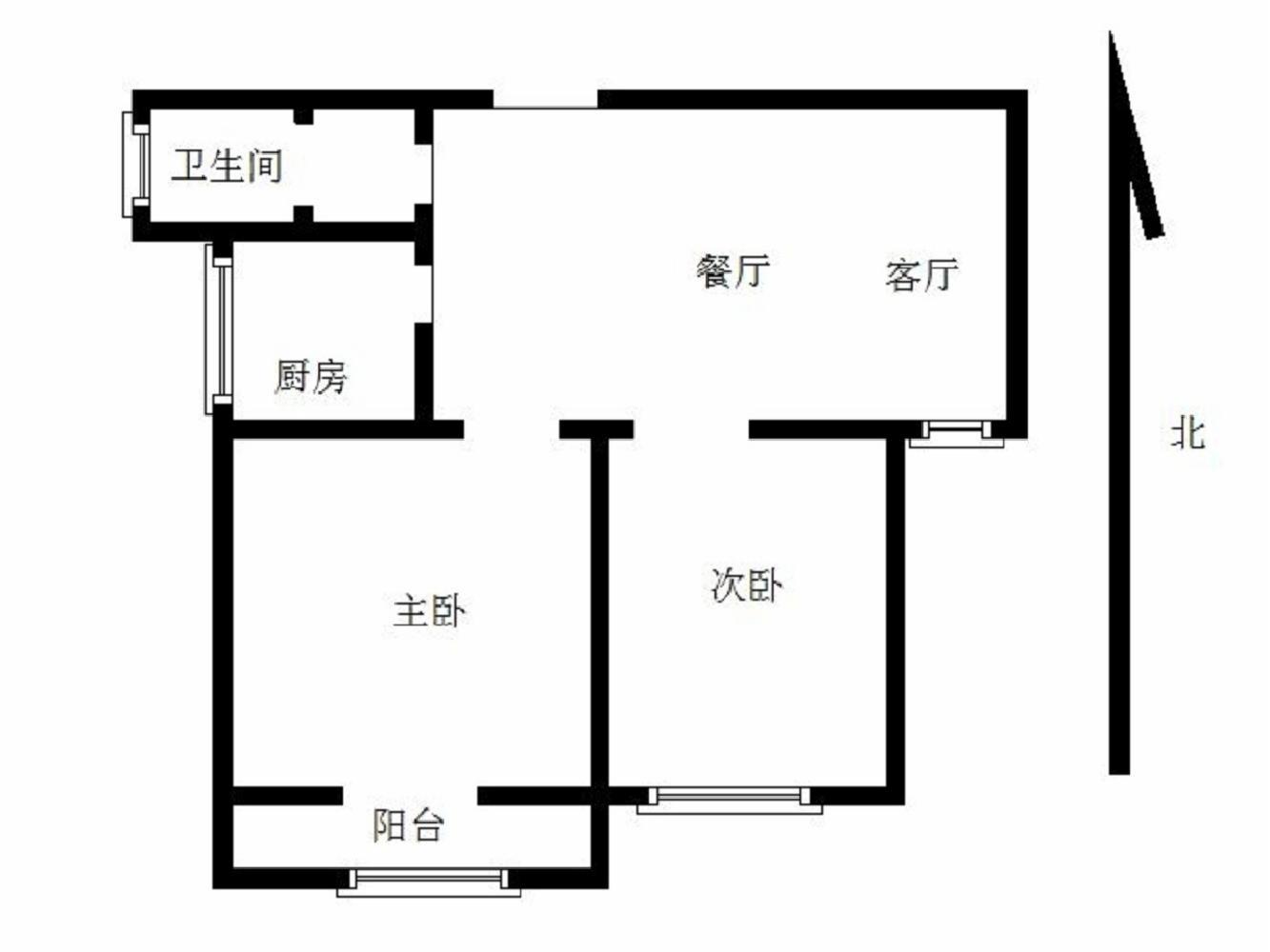 玄武区卫岗银城东苑菱香苑2室2厅户型图