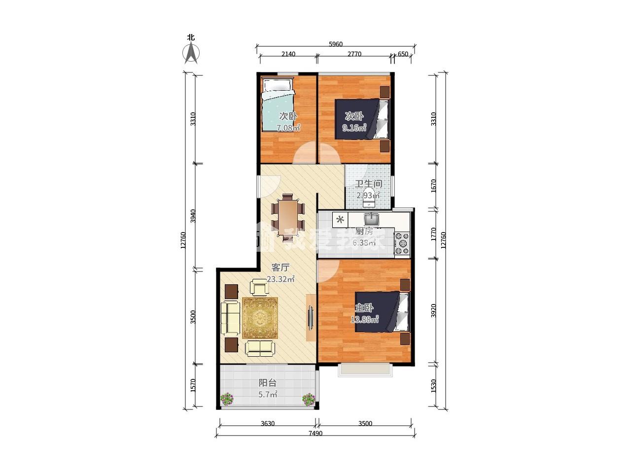 玄武区樱驼花园奥克斯钟山府3室2厅户型图
