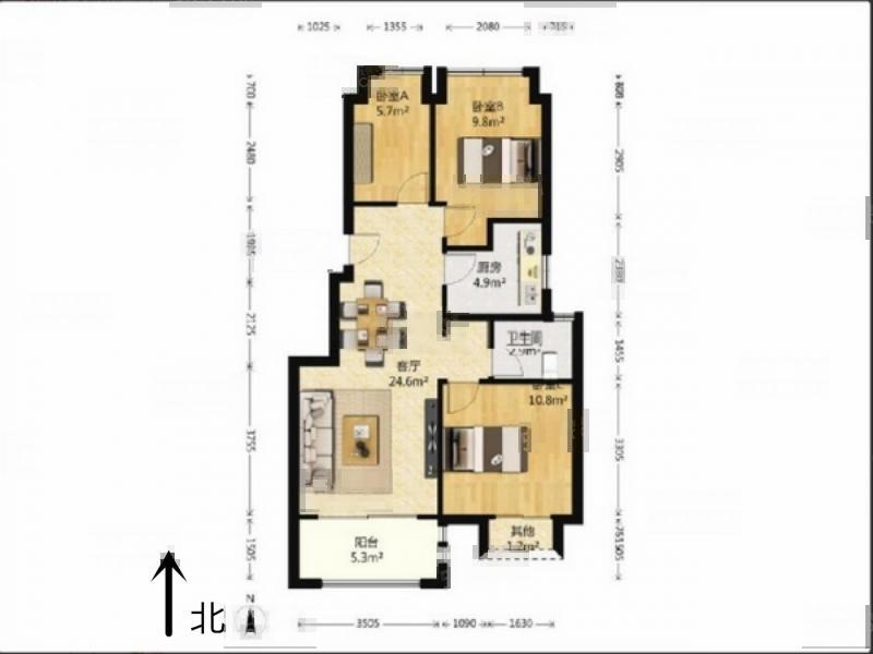 江宁区将军大道托乐嘉旺邻居3室2厅户型图