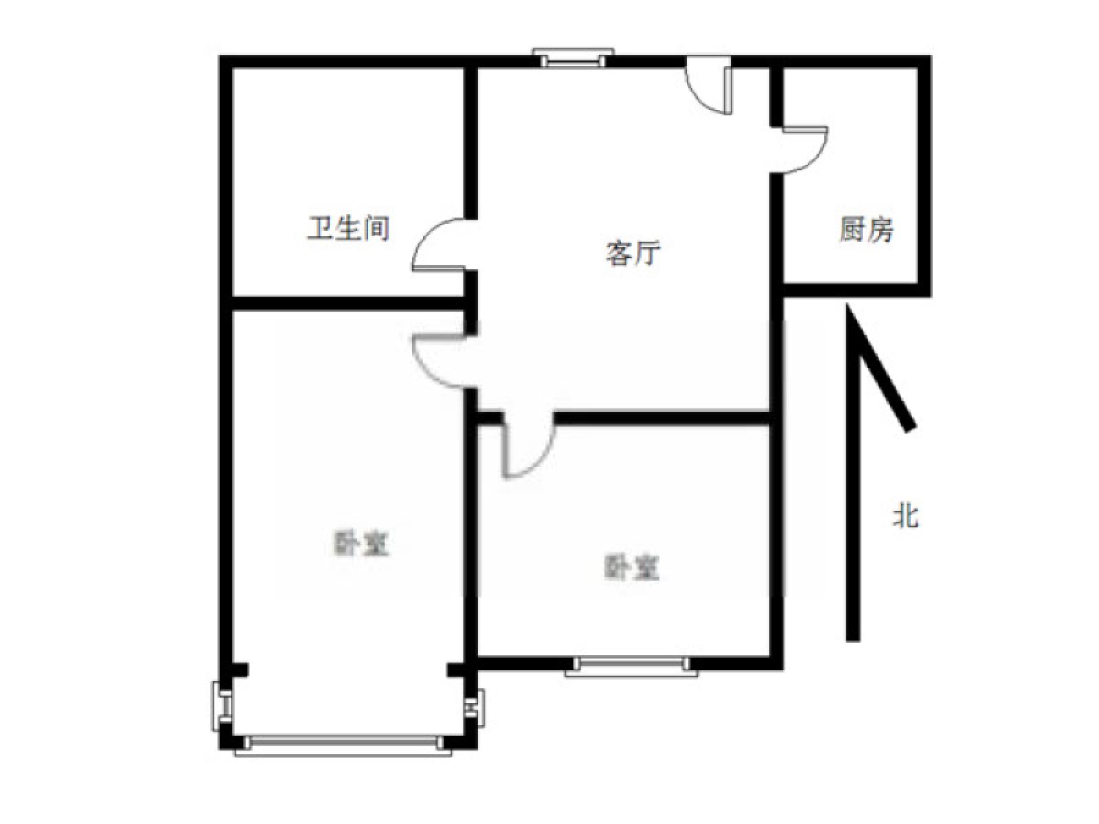 六合区葛塘街道芳庭潘园2室1厅户型图