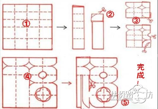 """> """"福""""字窗花怎么剪,简单几步轻松搞定   剪窗花步骤 i:将方形的纸张"""