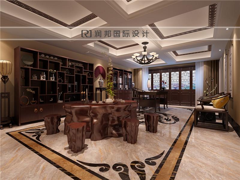 南京别墅装饰公司中式风格装修效果图地下室效果图
