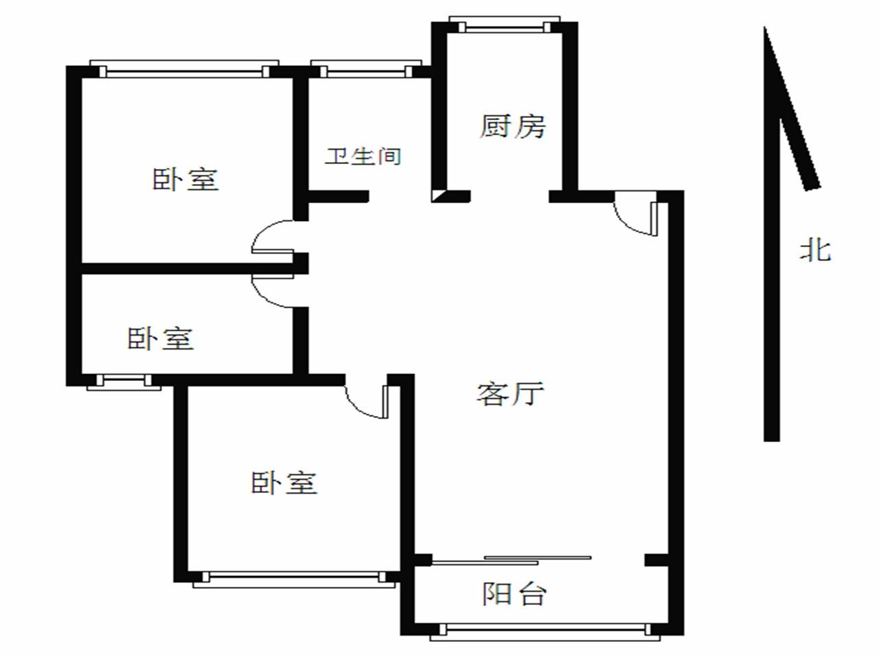 江宁区东山街道汇景新苑3室1厅户型图