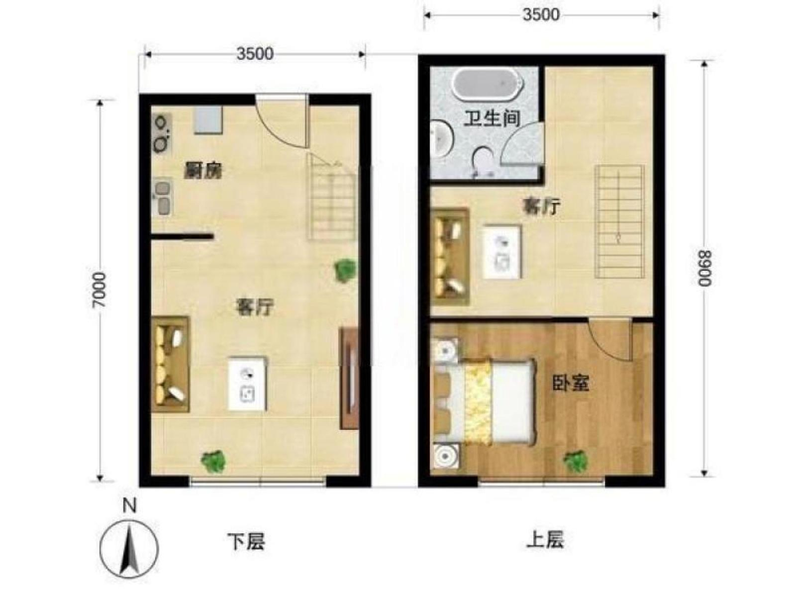 秦淮区瑞金路瑞鑫兰庭2室1厅户型图