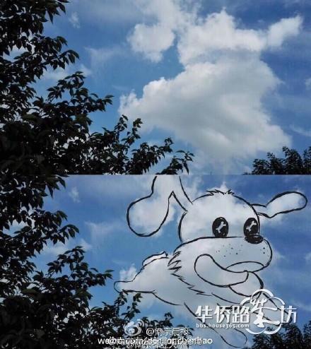 """大蓝鲸网友手绘萌萌哒""""天空动物园""""爆红网络"""