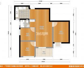 银城蓝溪郡3室2厅1卫79平米2017年产权房精装