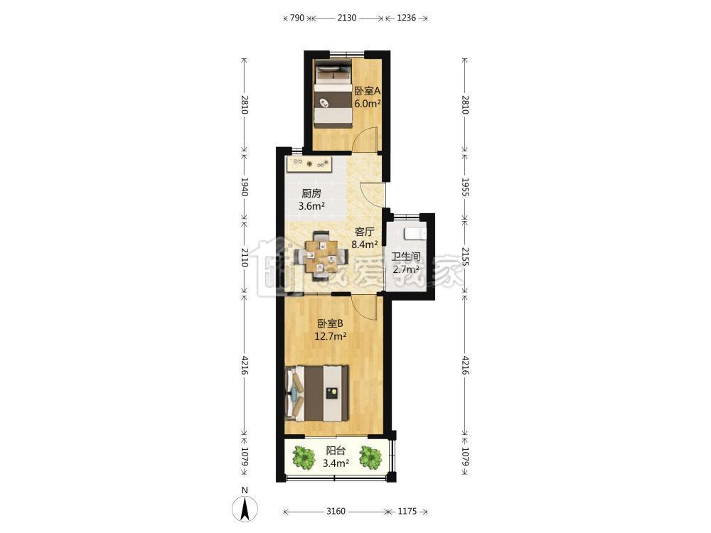 玄武区珠江路如意里小区2室1厅户型图