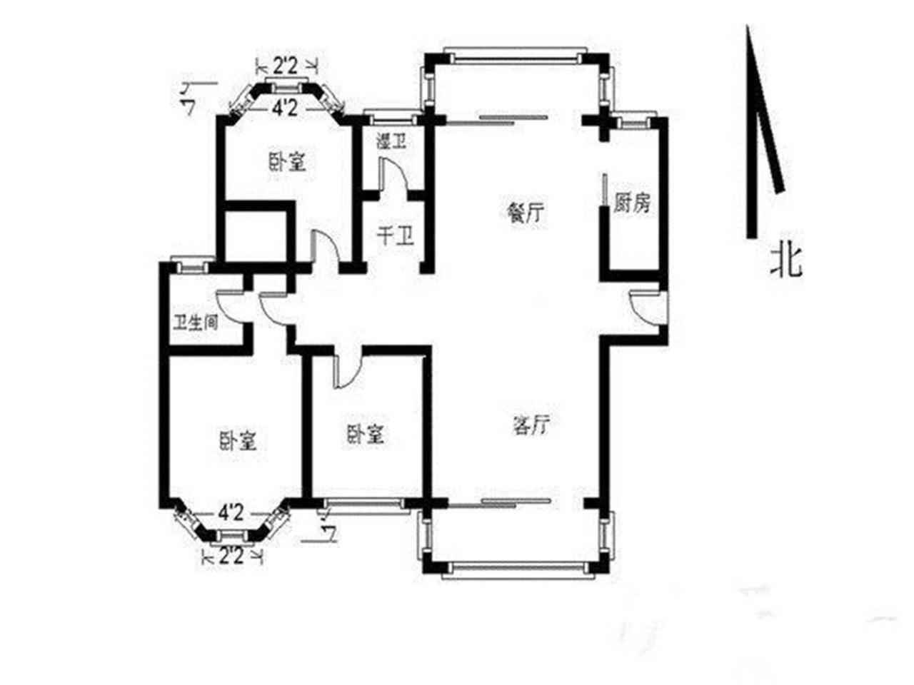 玄武区后宰门钟山颐府3室2厅户型图